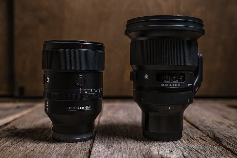 Lens shot of Sony 105mm and Sony 135mm