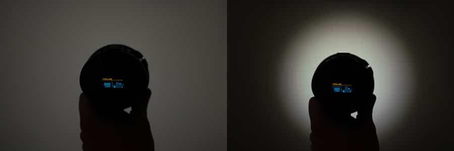 Black and white lens shot showing light 3000 Lumens