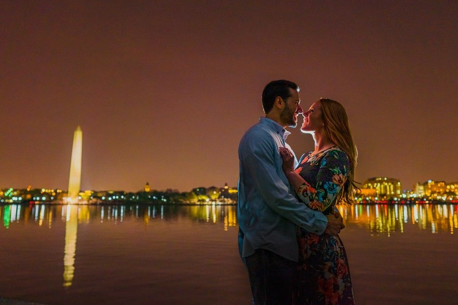 Romantic couple shot with city lights in background shot with CL2000