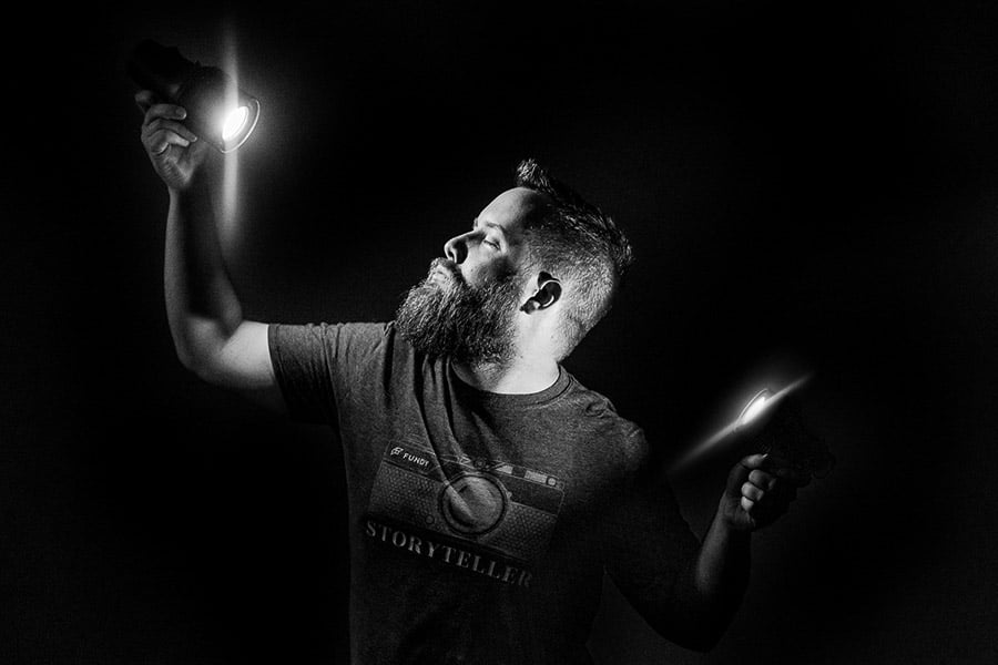Using Stella Pro lighting for self portrait of a man