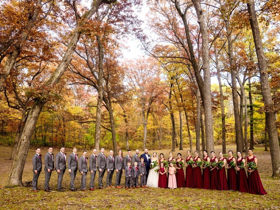 Bridal party sot in the trees shot using Olympus OM-D Mark II