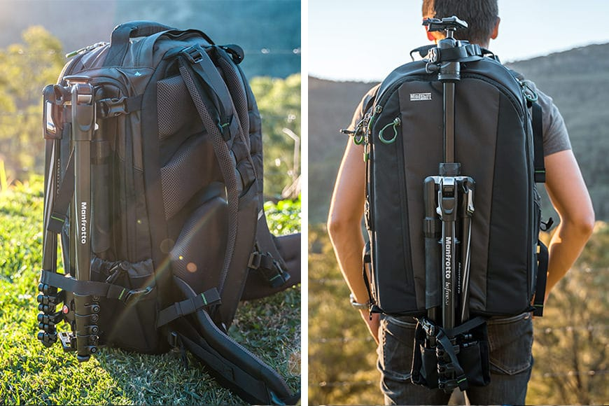 You can carry a tripod on the front or either side of the bag