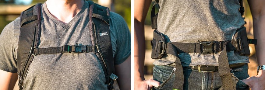 The Mindshift First Light 30L back straps come with built in chest and waist straps for secure carrying and weight distribution.