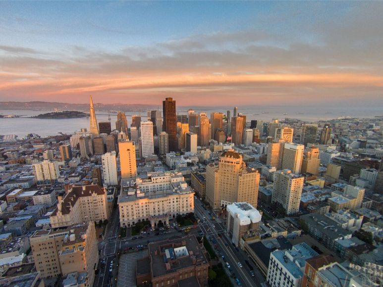 San Francisco Skyline Architecture Drone