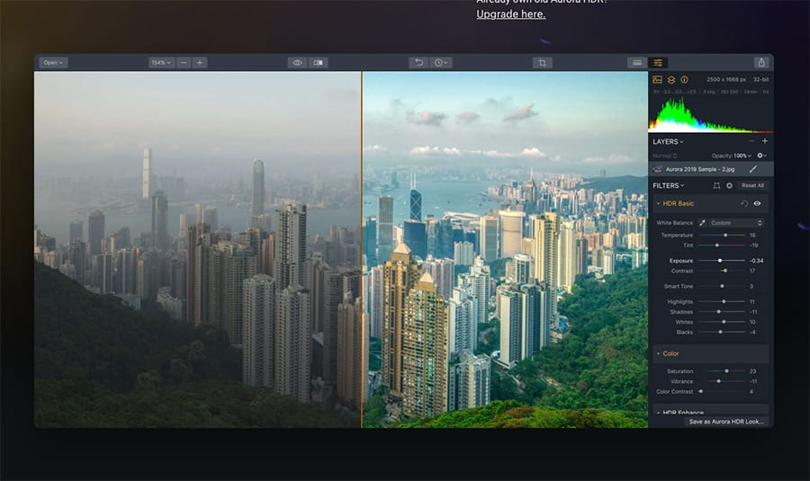 Screenshot of Aurora Plugin for HDR images