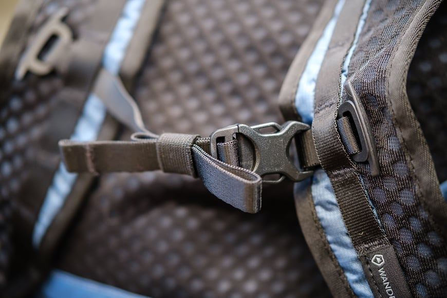 wandrd veer strap close up - comfortable on shoulder with sternum chest straps too. Great mesh for moisture wicking - a first for a wandrd product. The Veer is truly unique, made with great materials both inside and out.
