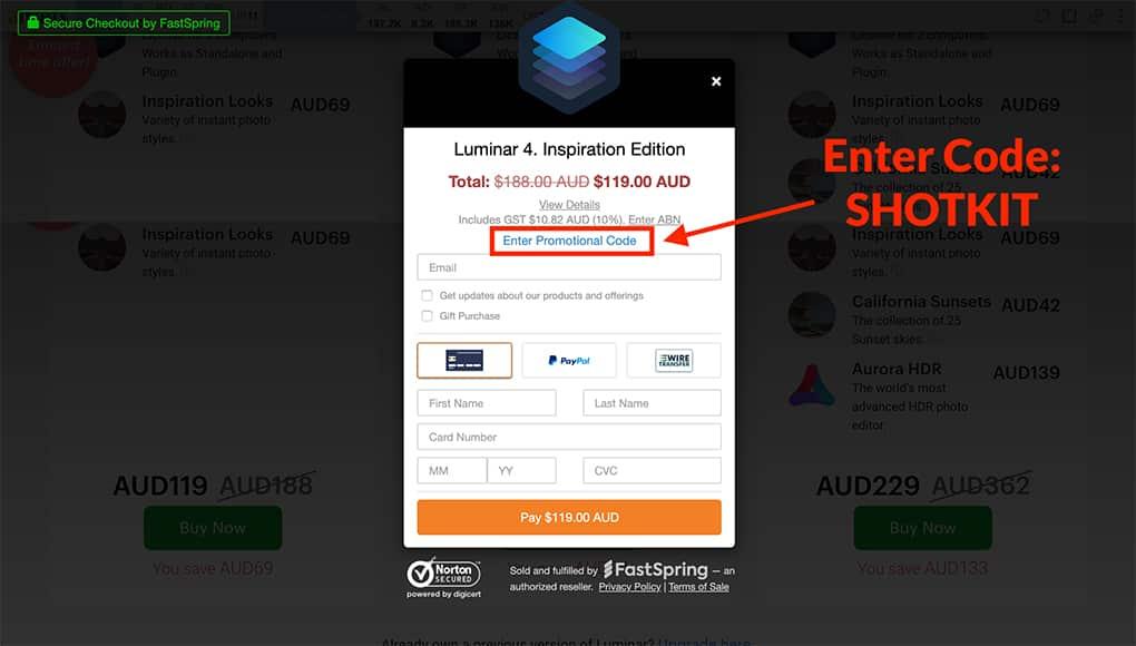 Luminar coupon code promo - includes $10 saving for Luminar 4 discount