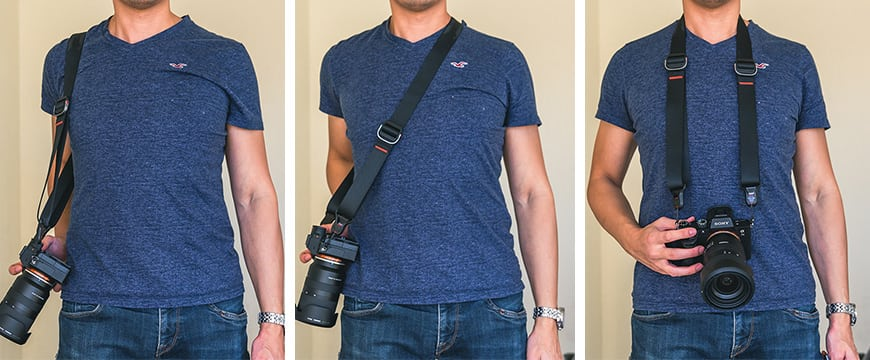 The Peak Design Slide Lite review - cameras straps can be worn in multiple ways - one side or from neck. Camera straps usually provide this option, but the slide lite is much better with its anchor link system.