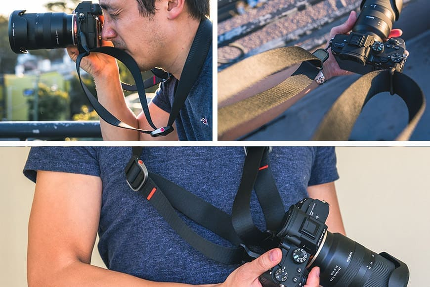 The Peak Design Slide Lite has some design quirks, but so do most camera straps. Seen here attached to camera and lens. Used as neck strap with mirrorless camera.