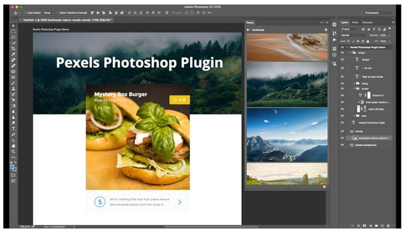 pexels free photoshop plugin