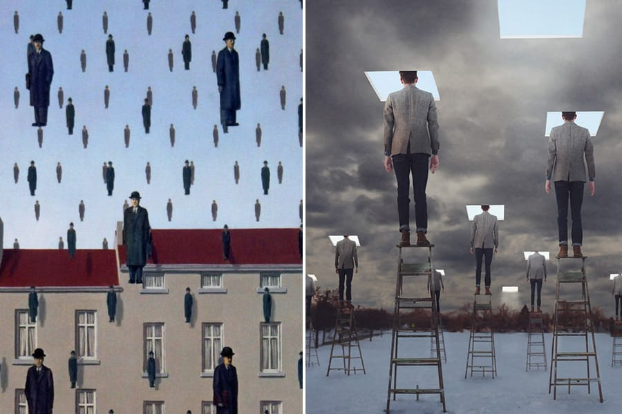 Rene Magritte painting and Logan Zillmer photo