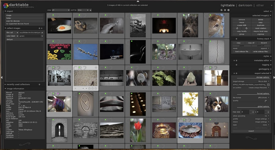 Darktable Photo Editor - screen shot of original file library in this Lightroom free alternative - great editing tools