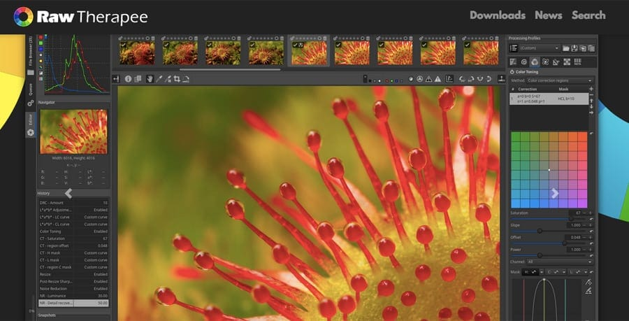 Raw Therapy, a fast, free photo editor with advanced tools to edit your original file - image editing with asset management. Top photo editor and fee.