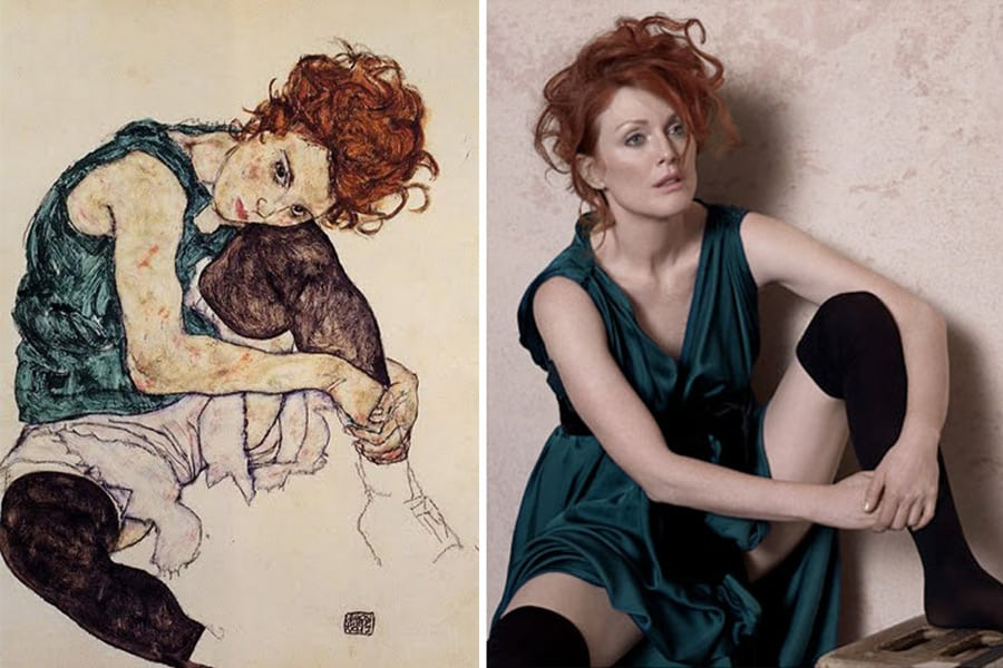 Egon Schiele painting/ Peter Lindbergh photo