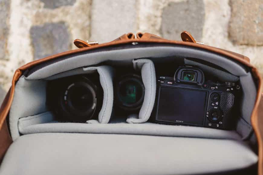 Hawkesmill bag interior shot with Sony camera gear