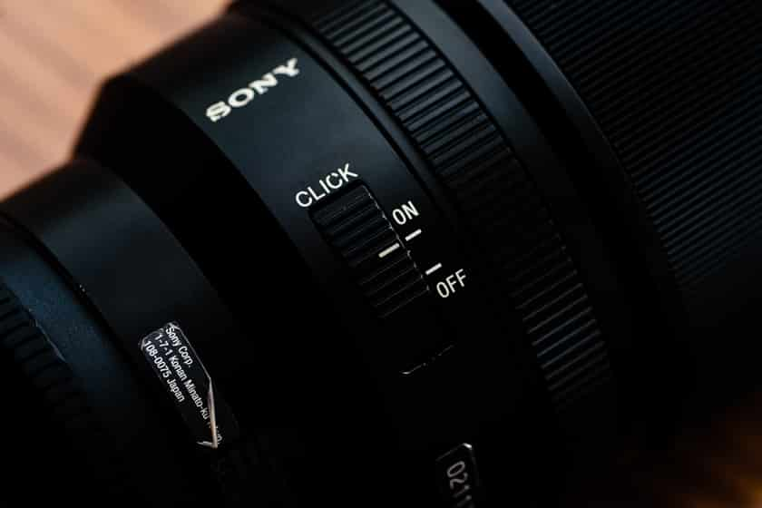Photo of the Sony Distagon 35mm f1.4 Aperture Ring Click