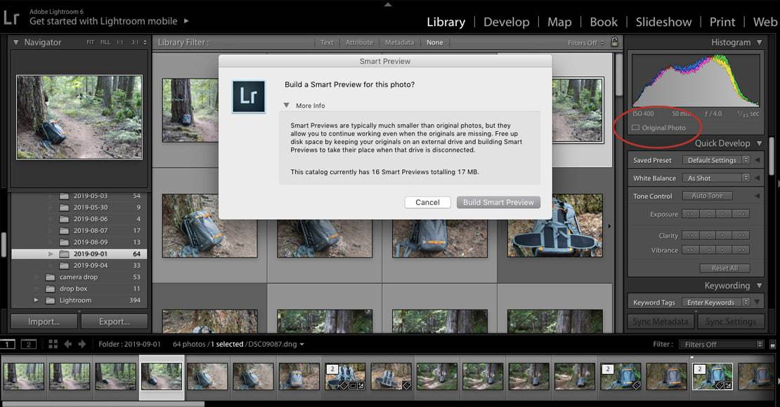 Building Smart Previews for a single image
