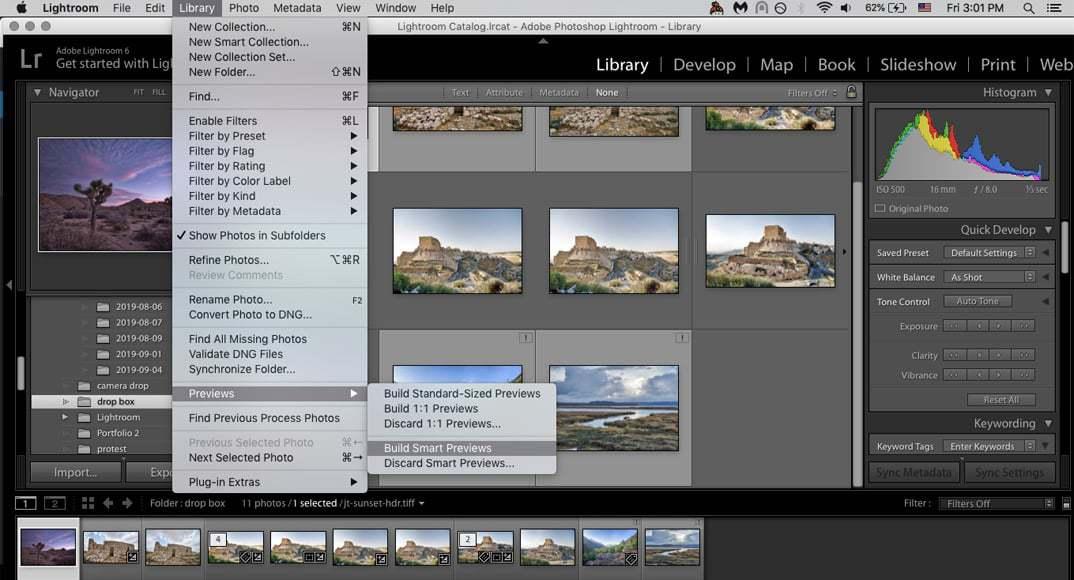 Building Smart Previews for original images