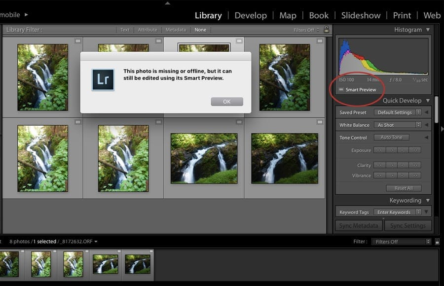 Editing photos offline with Smart Previews - no need for photoshop