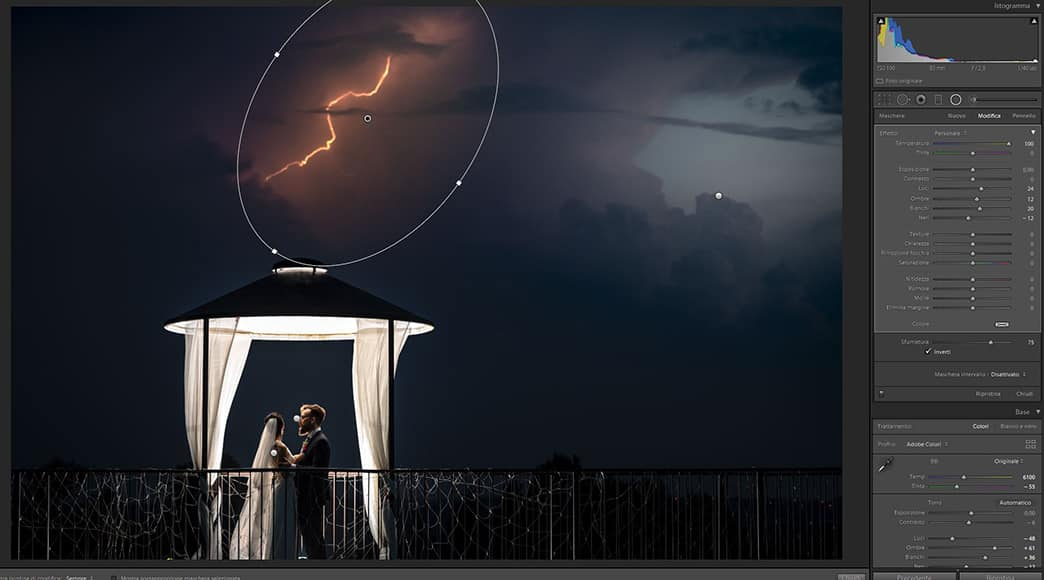 photography of lightning and wedding couple
