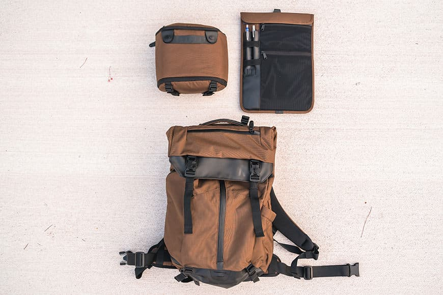 The Boundary Supply Prima System Modular Travel Backpack comes with the Verge Case and Fieldspace as standard