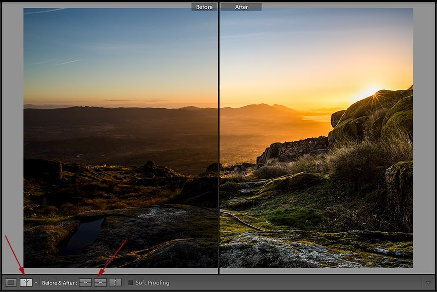 use backslash key for before and after lightroom shortcuts