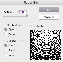 Radial Blur Dialog box