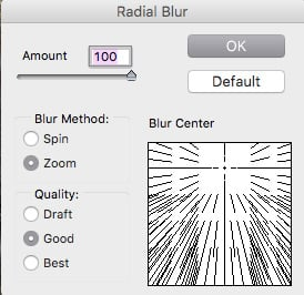 Radial Blur Zoom feature