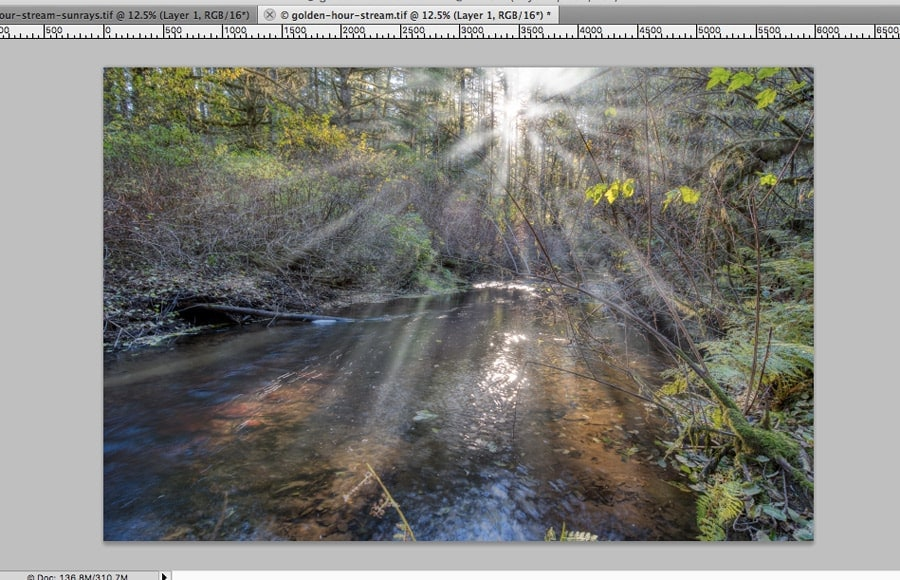sunrays after the radial blur