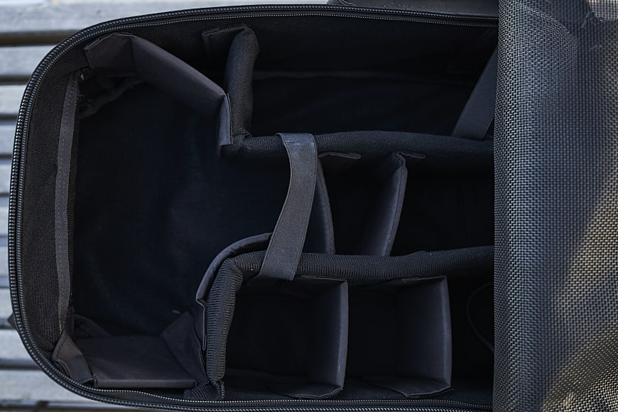 langly multi-camera backpack interior