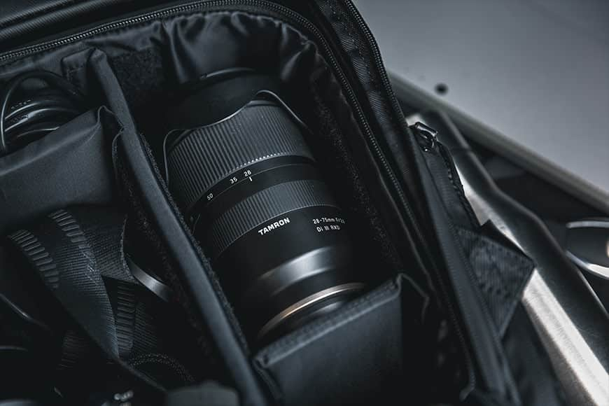 The Tamron 28-75mm f/2.8 packs up nice and tight in to any camera bag