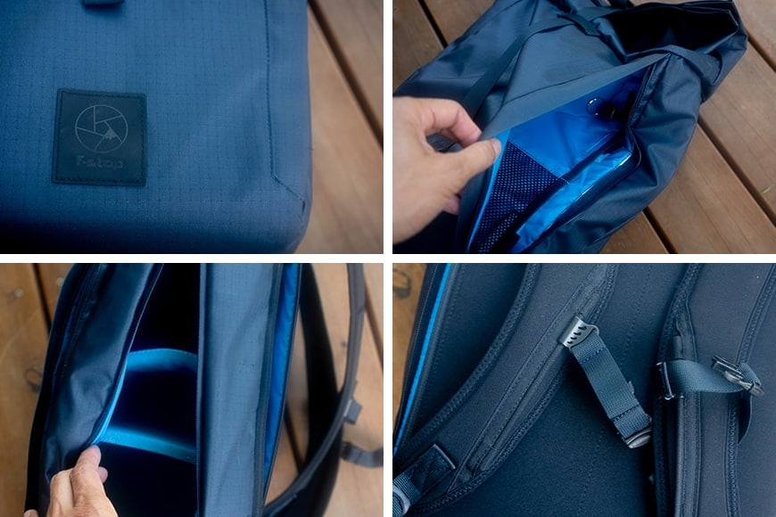 dalston details - main compartment with removable dividers for photographers