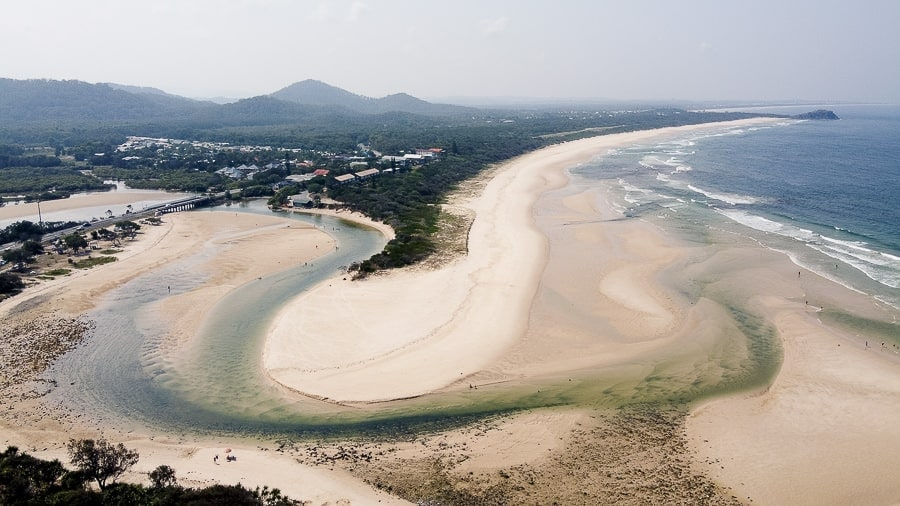 sample drone image of beach and sea