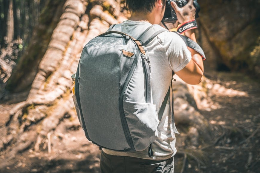 Peak Design's everyday backpack zip camera bag - effortless zippers and space for water bottle. Part of the Peak everyday line