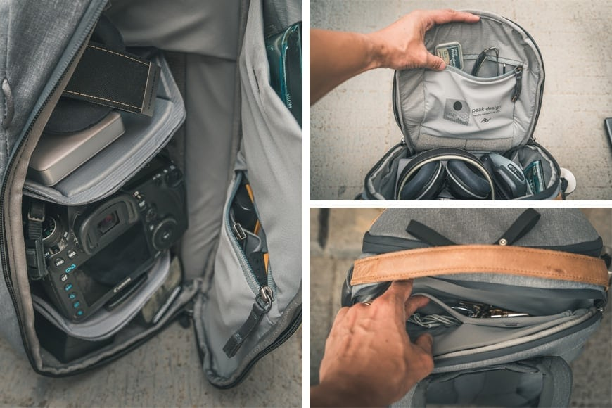 Soft internal storage compartments and laptop compartment/water bottle. Comfy shoulder strap padding.