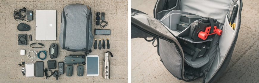The 15L Everyday Backpack Zip fits a DJI Mavic with the FlyMore pack, and numerous other accessories.