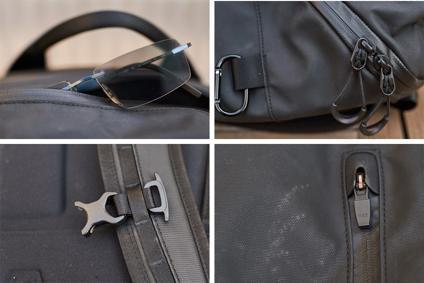 closeup details of the wandrd duo daypack