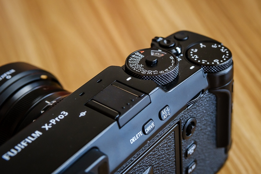top and bottom control dials of the new classic Fujifilm X-Pro3