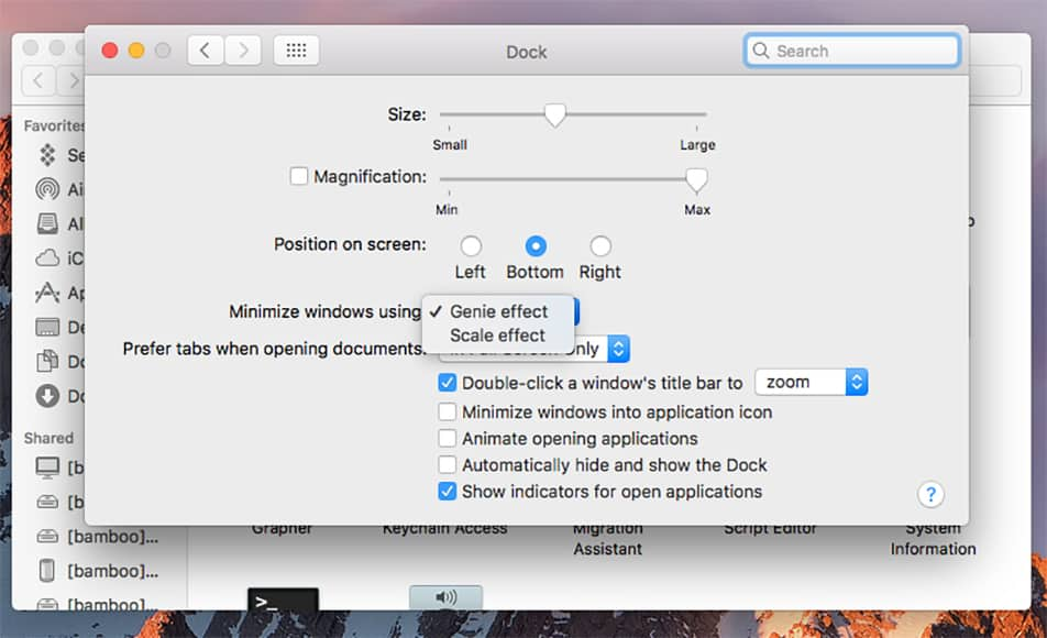 speed up a mac by turning off visual effects