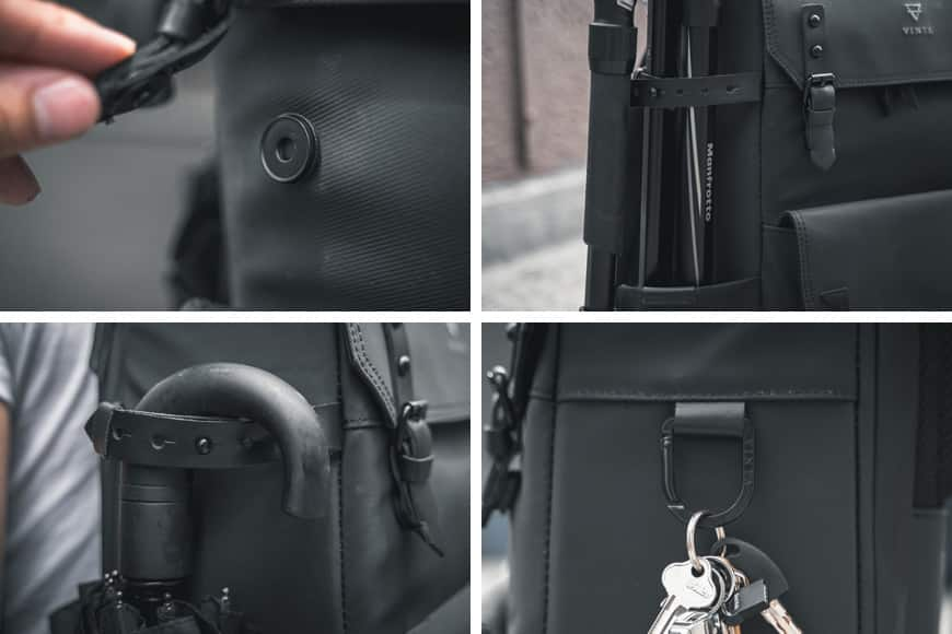 The Vinta Type-II Backpack features magnetic latches, a leather adjustable strap and a d-ring carabiner clip.