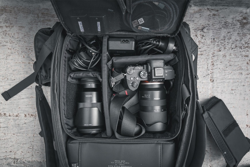 The Vinta Type-II Backpack with the Camera Field Pack placed inside storing a Sony A7 III