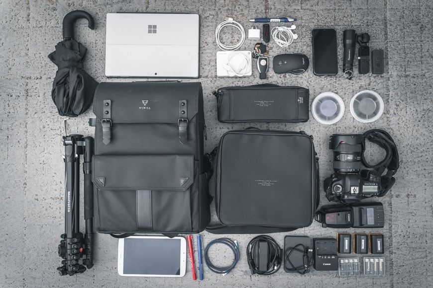 The Vinta Type-II Backpack coupled with the Camera Field Pack and Compact Field Pack fit a Canon 5D MKIII and a lot of other items.