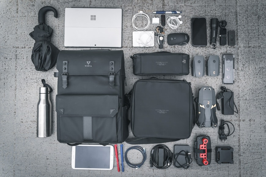 The Vinta Type-II Backpack coupled with the Camera Field Pack and Compact Field Pack fit a DJI Mavic Pro, Controller, and a lot of other items.