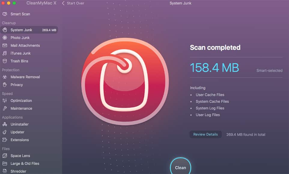 clean my mac x review screenshot scan