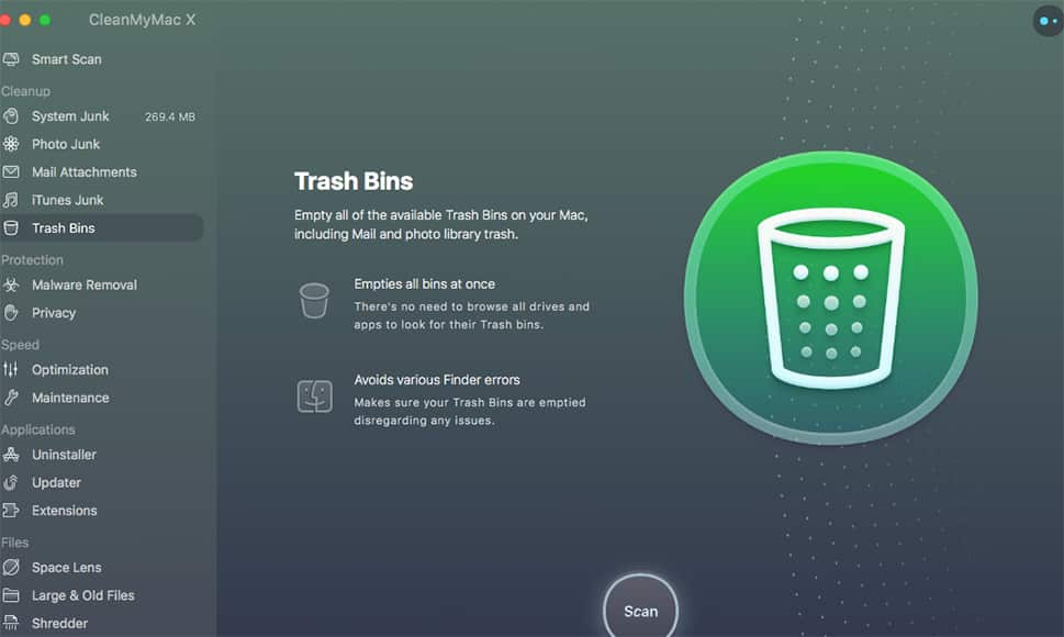 cleanmymac x review screenshot trash bins