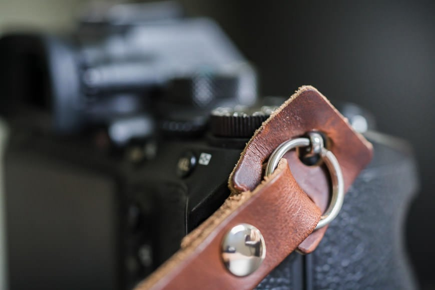 close-up of camera strap lug