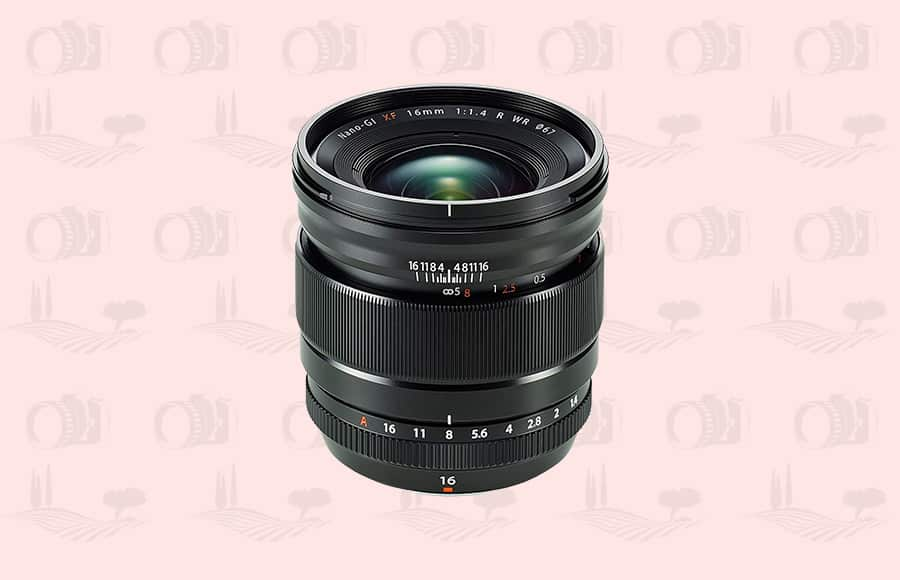 Fuji wide angle lens that's weather resistant with 1.4 maximum aperture