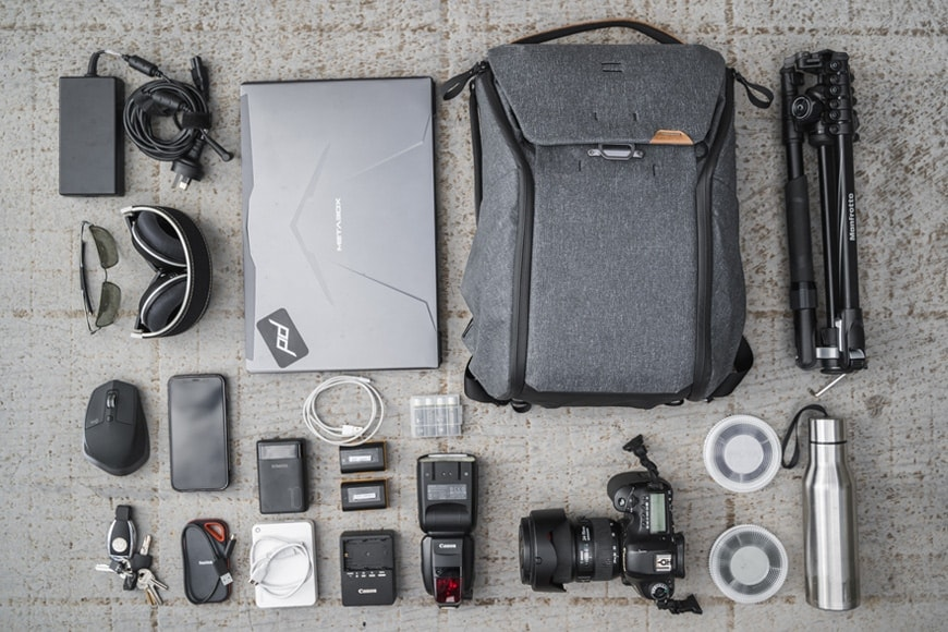 You'll be able to fit a full size DSLR camera in to the 20L Everyday Backpack V2 along with the rest pictured here.