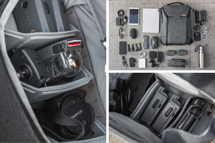 The 20L Everyday Backpack V2 is a great carry solution for a DJI Mavic Pro with space to fit a Sony A7 III as well.