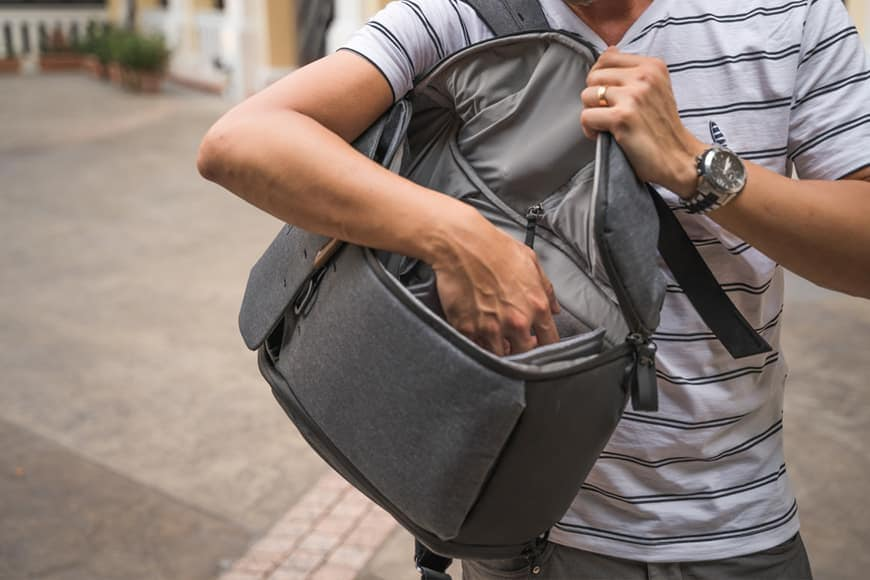 Slinging the Everyday Backpack V2 over the shoulder and accessing it through the side is very handy.